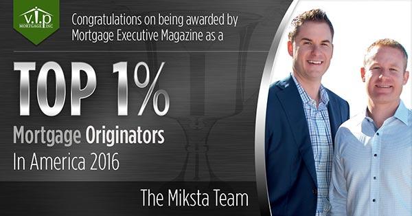 VIP Mortgage's Steve Miksta Ranks Nationally as Top-producing Mortgage Originator